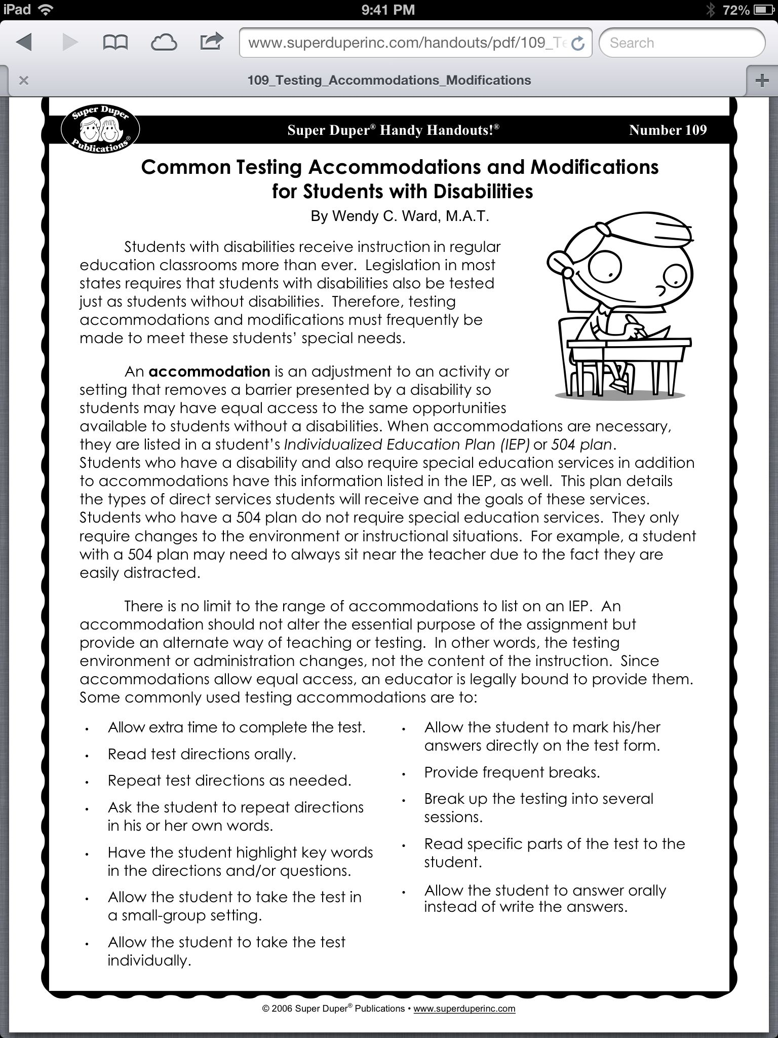 Autism Resume Common Testing Accommodations And Modifications 3rd