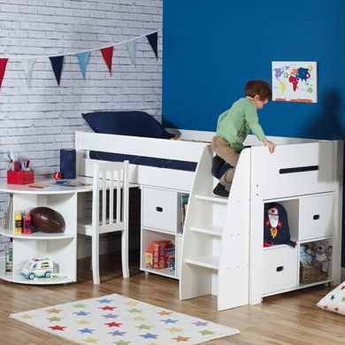 Merlin Mid sleeper with pullout desk, white, practical storage