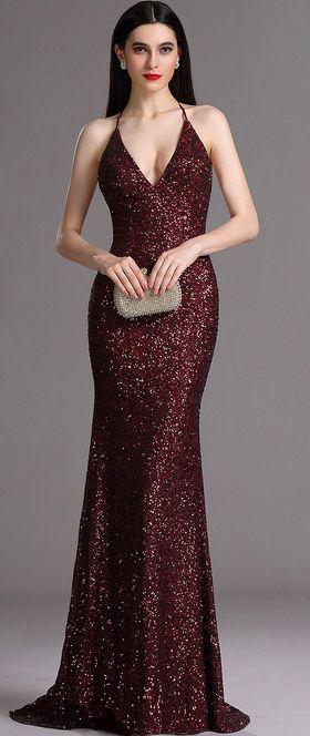 eDressit Spaghetti Halter V Neck Burgundy Sequins Prom Dress ...