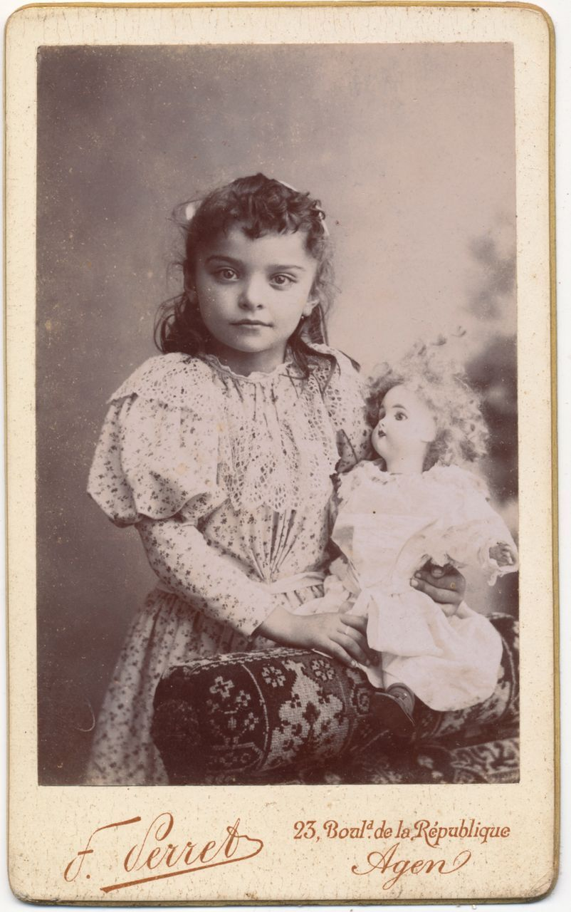 Beautiful Girl With Porcelain Doll, Antique Victorian -9666