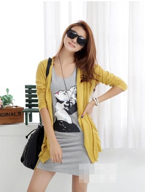 Yellow Cotton Long Line Asian Fashion Cardigan Hoodie With A Waist Belt
