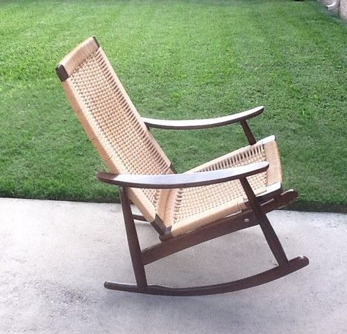 Phenomenal Danish Mid Century Modern Rope Rocking Rocker Chair Stamped Ocoug Best Dining Table And Chair Ideas Images Ocougorg