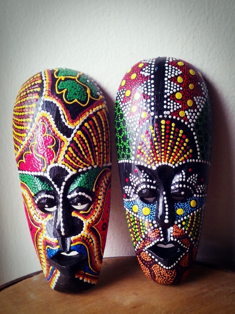 Wall Mask Decor Entrancing 2 Pcswooden African Tribal Tiki Mask Hand Carved&painted Wood Inspiration Design