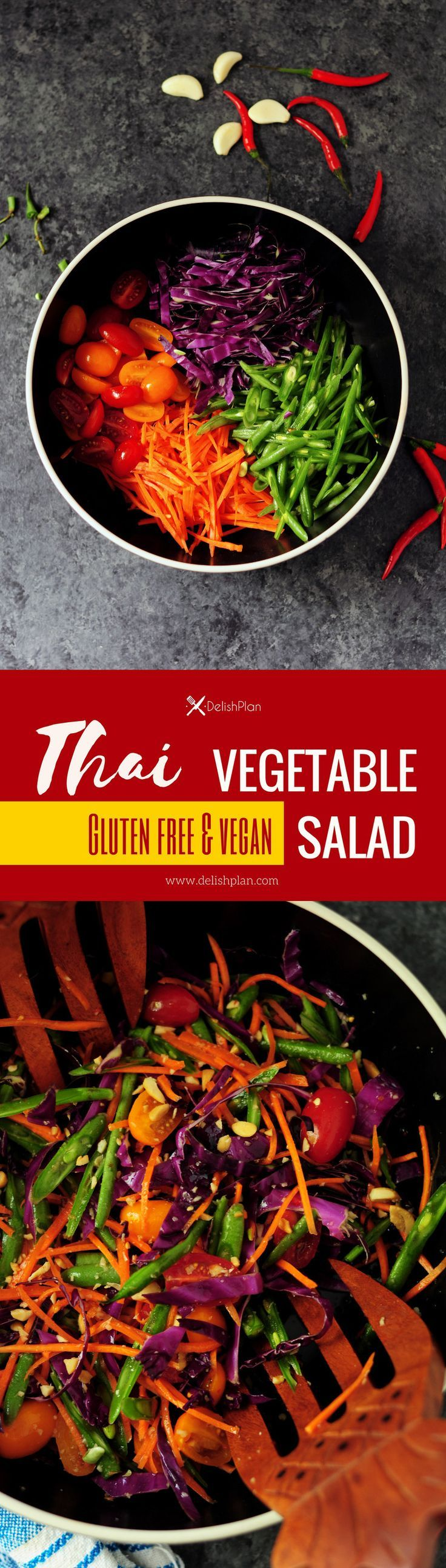 Inspired by Thai papaya salad, this simple vegetable salad features an authentic Thai flavor with a gentle kick. It's also made gluten free and vegan.