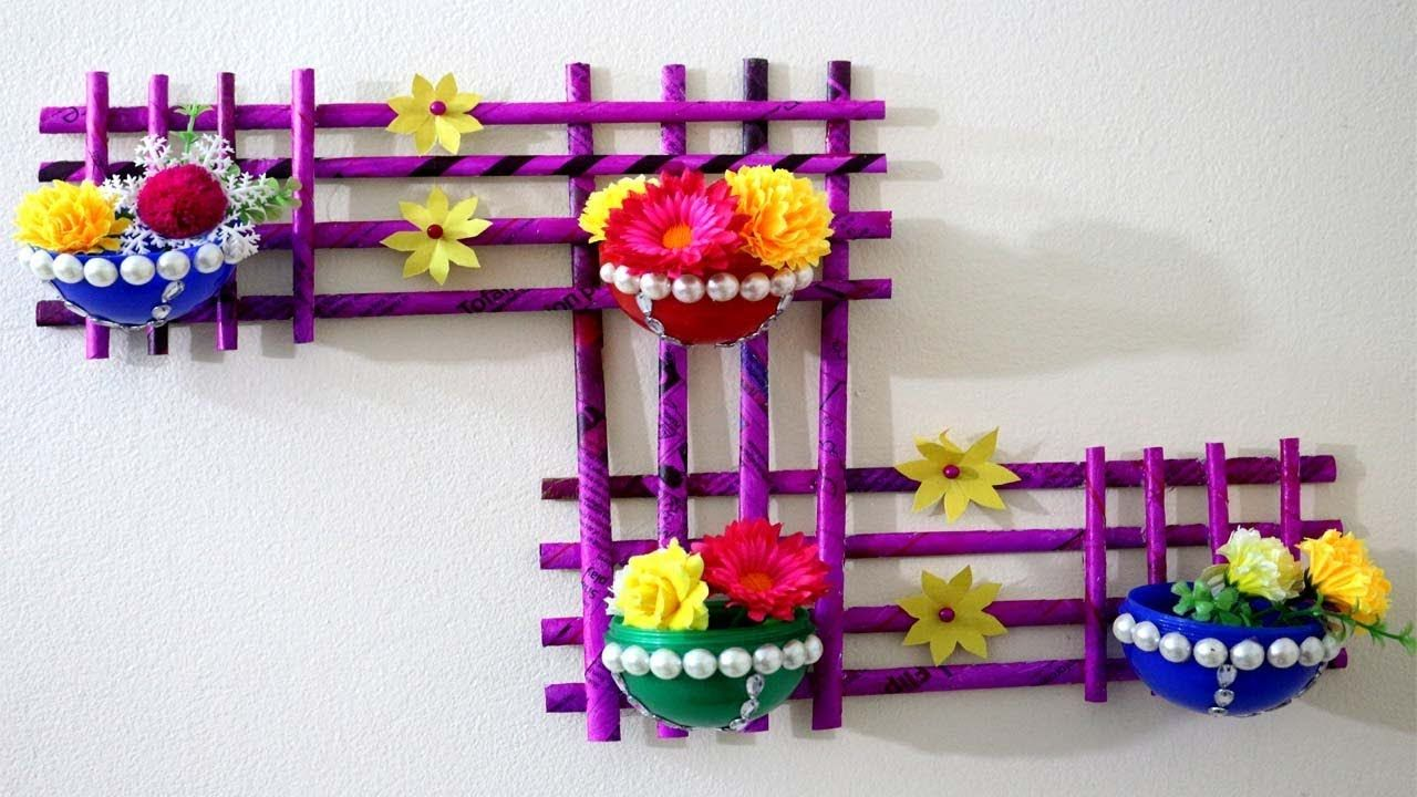Newspaper Craft How To Make Newspaper Wall Hanging With Flower