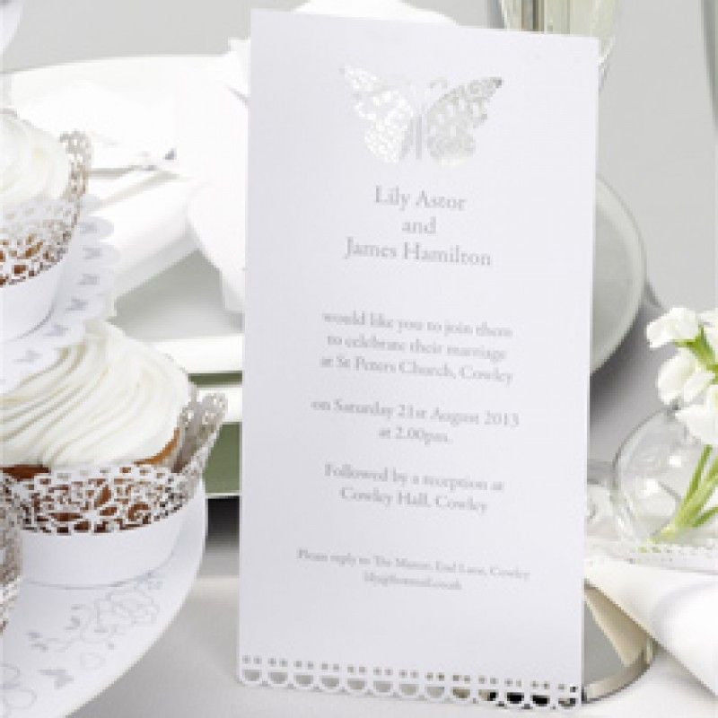 Butterfly Invitations - White Butterflies - Wedding Themes ...