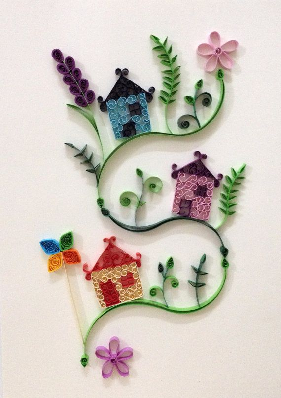 Paper quilling litttle village 2 by hyvoky on etsy for Quilling strips designs