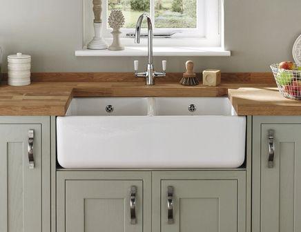 Lamona White Ceramic Double Belfast Sink