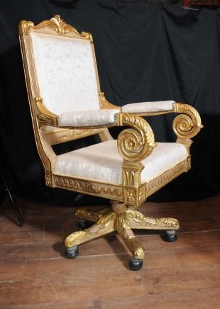 Large French Gilt Swivel Office Arm Chair Throne Fauteil Louis Xv