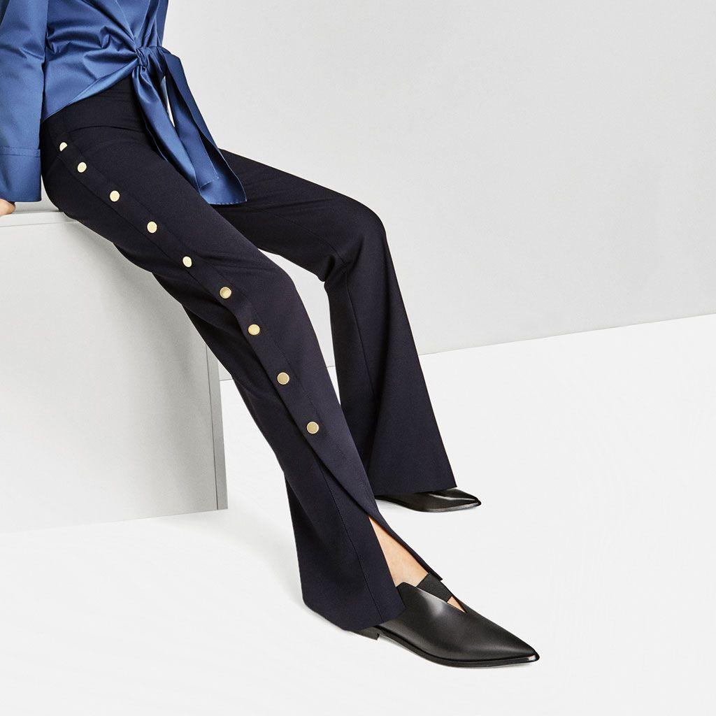 Zdjecie 1 Skorzane Buty Na Plaskiej Podeszwie Z Elastycznym Noskiem W Szpic Z Zara Fashion Outfits Fashion Stretch Leather Shoes