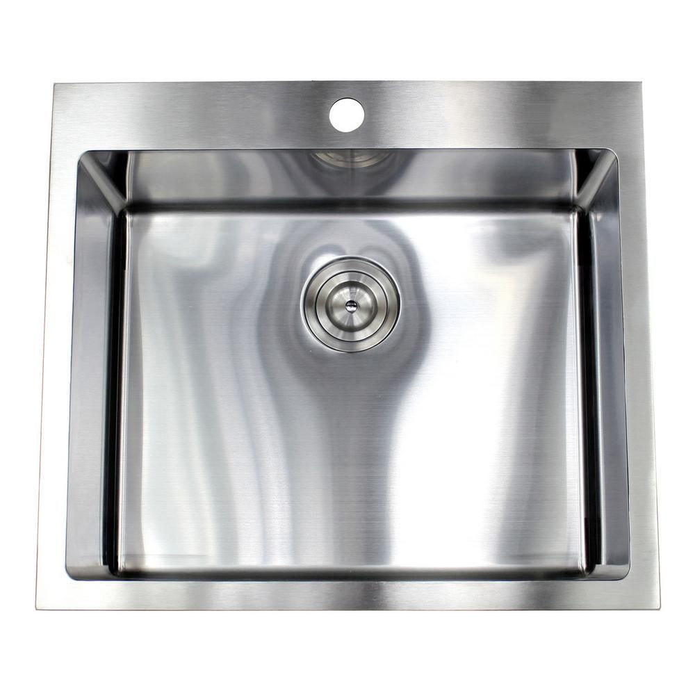 Emoderndecor Drop In Topmount 16 Gauge Stainless Steel 25 In X 22 In X 10 In Single Bowl Kitchen Sink Rt2522 Th Single Bowl Kitchen Sink Sink Kitchen Sink