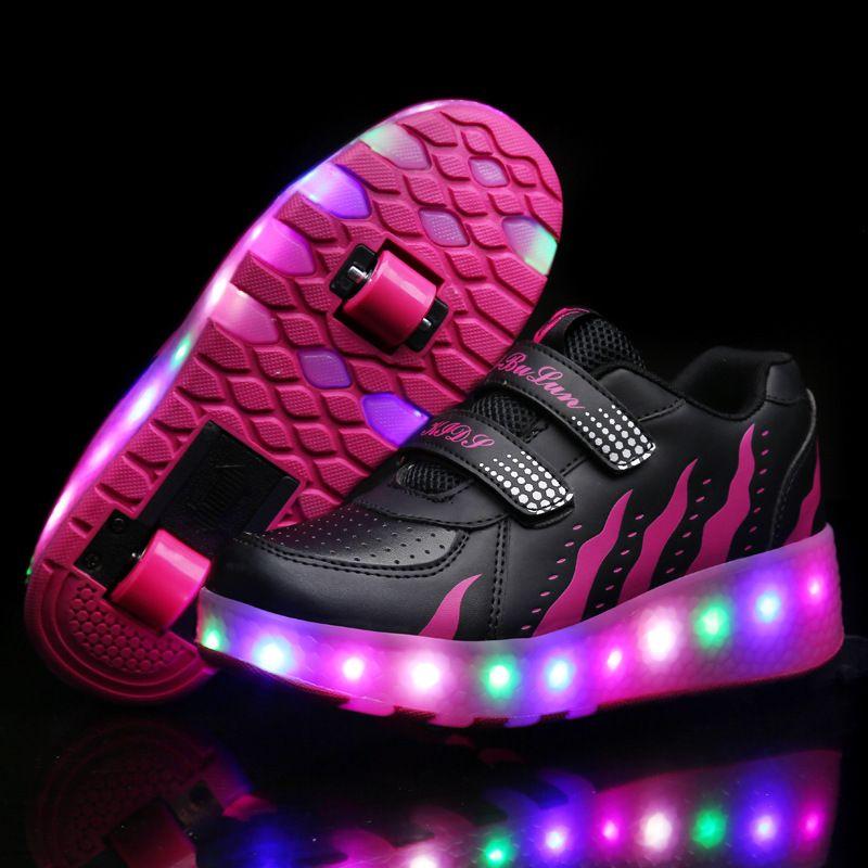 839b3bc1 Zapatillas de Deporte con el Doble de DOS Ruedas heelys Luz LED Niño Niña  <font