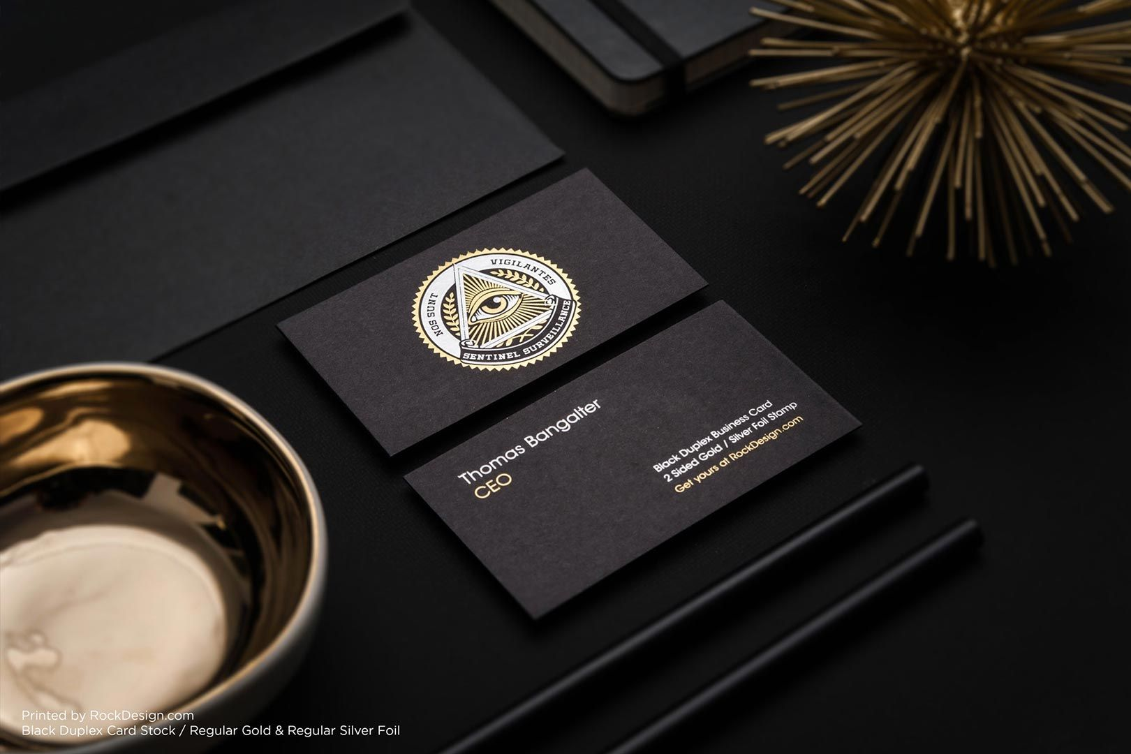 Black foil stamped best luxury business card design - Sentinel ...
