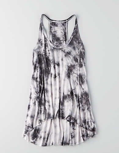 AEO Soft & Sexy Hi-Lo Jegging Tank , Dark Grey | American Eagle Outfitters