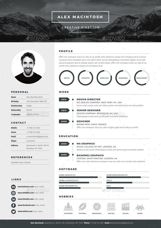 Mono Resume Template By Ikonome 3 Page Templates 90 Icons Adobe Indesign Illustrator And Photoshop Files Design
