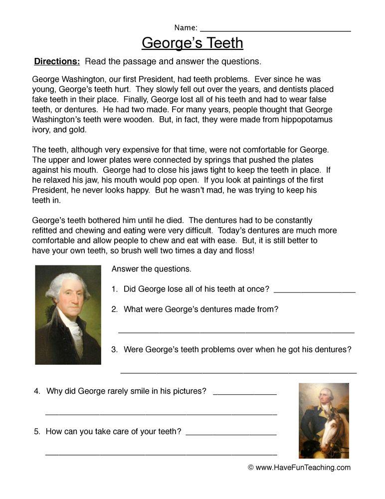 George Washington Story Worksheet George Washington Have Fun