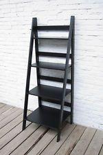 Ladder Book Shelf 4 Tier Bookcase Stand Free Standing Shelves Storage Unit Black