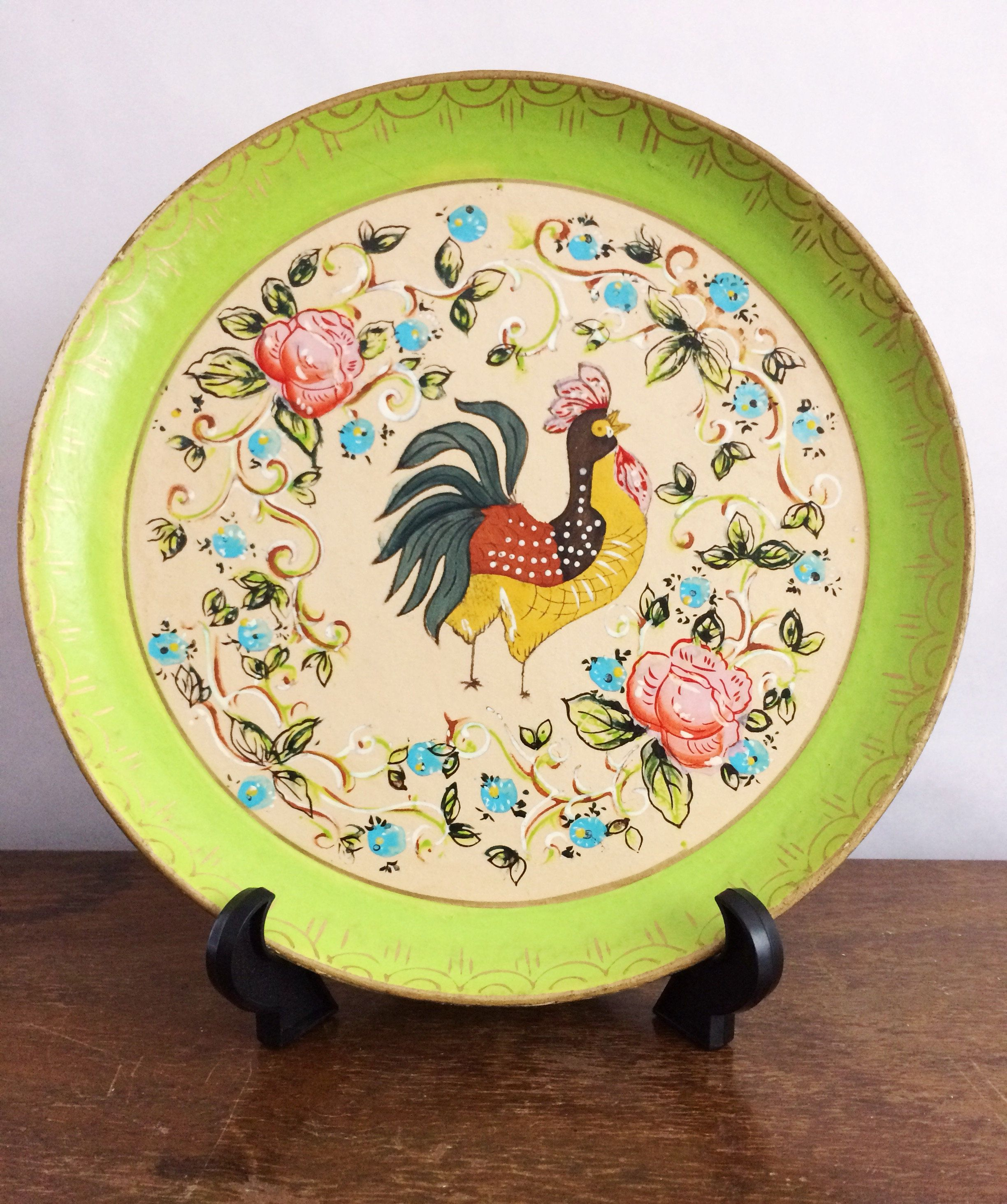 Vintage Hand Painted Wood Bowl Rooster Design Rustic Wall Decor Home ...