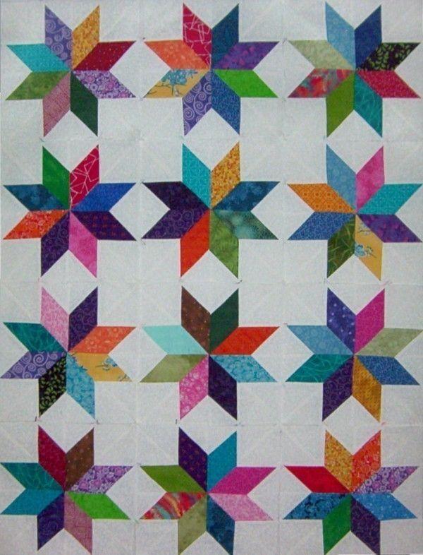 12 Scrappy Lemoyne Star Quilt Blocks Quilt It Pinterest Star