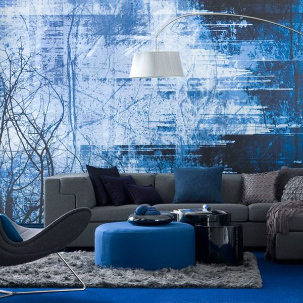 Modern Living Room With Blue Print Murals Interior Design Part 32