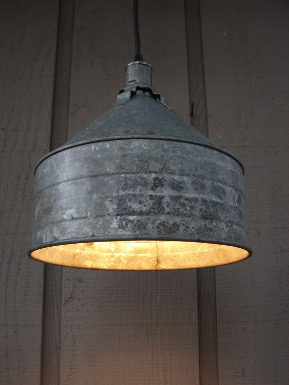 Reserved For Mandy Rustic Pendant Light Upcycled Galvanized Funnel 1