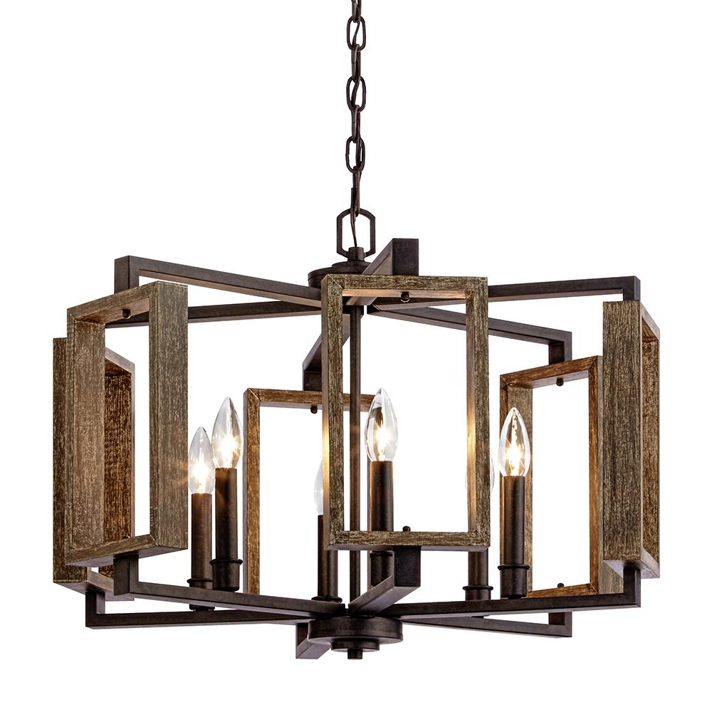 Kitchen Light Fixtures Home Depot: Home Decorators Collection 6-Light Aged Bronze Pendant