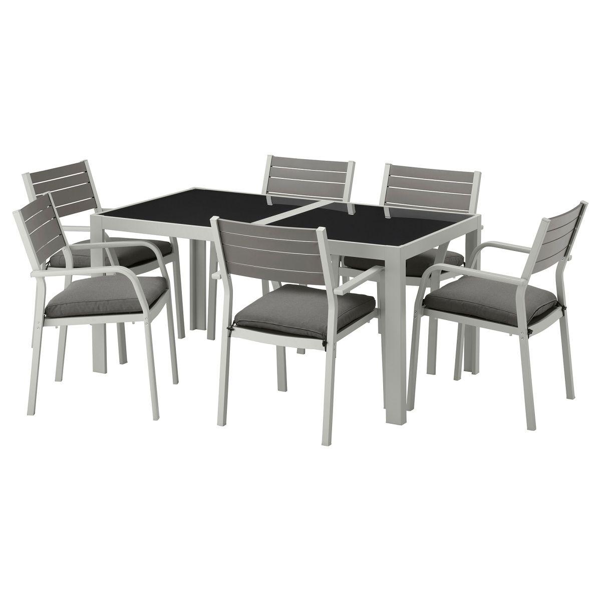 SJÄLLAND, Tisch+6 Armlehnstühle/außen, Glas, dunkelgrau Jetzt ...