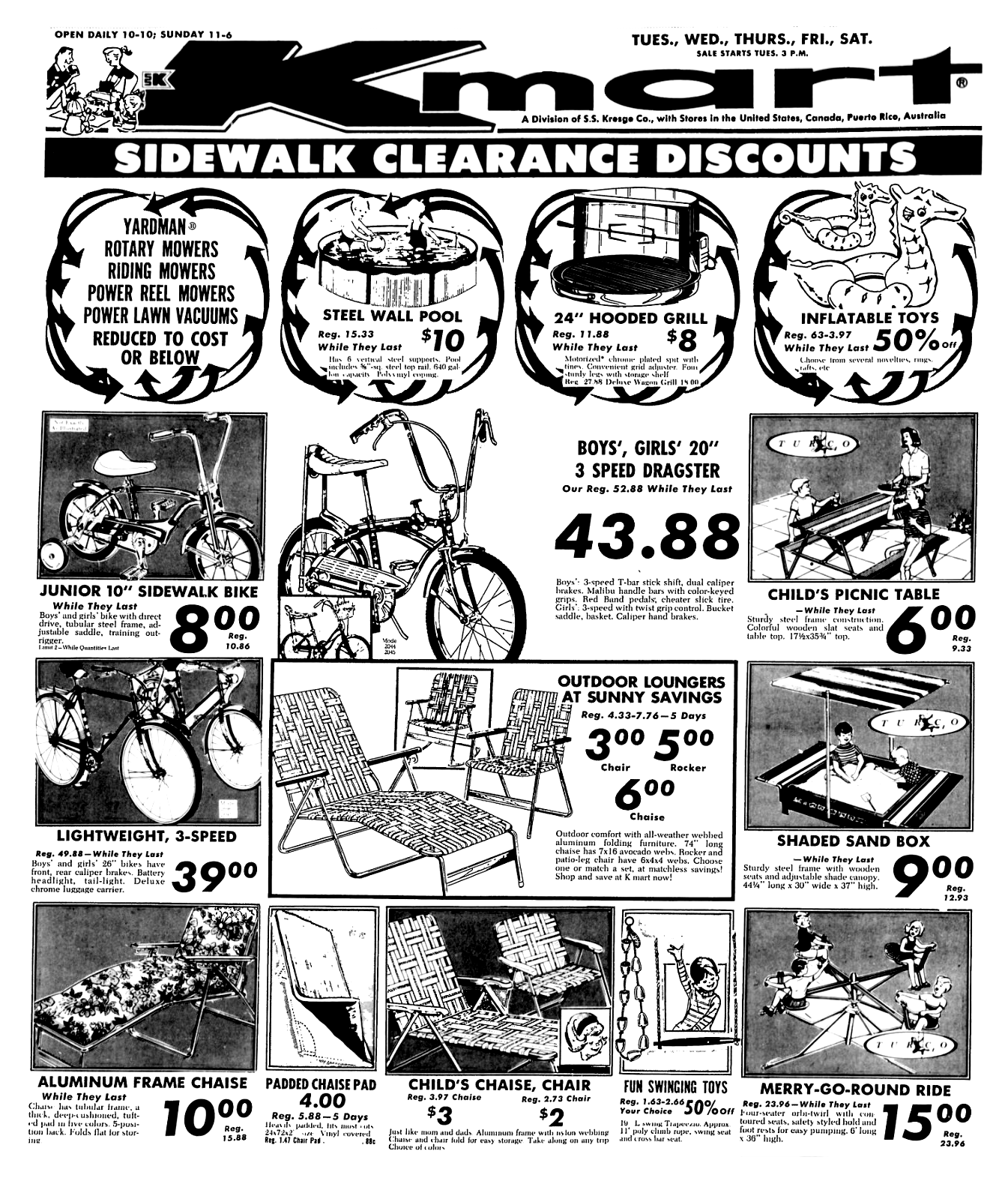 kmart sidewalk clearance august 1970 1970 s 1980 s newspaper 1980s Bicycle Ads kmart sidewalk clearance august 1970 newspaper advertisement advertising sidewalk 1980s retro