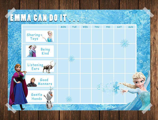 frozen toddler reward chart    behaviour chart    by
