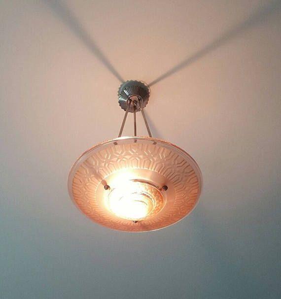Pink art deco light fixture h petitot 1930s unsigned french acid etched hanging lamp nickel hanging mechanism art deco jewel