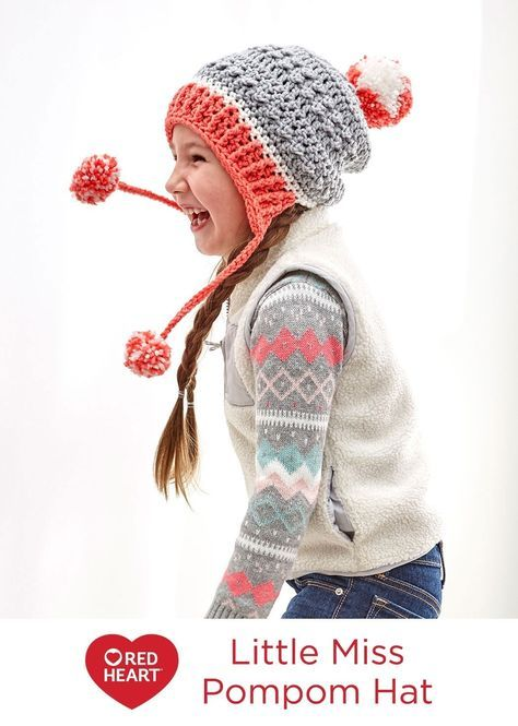 Little Miss Pompom Hat Free Crochet Pattern in Red Heart Yarns ...