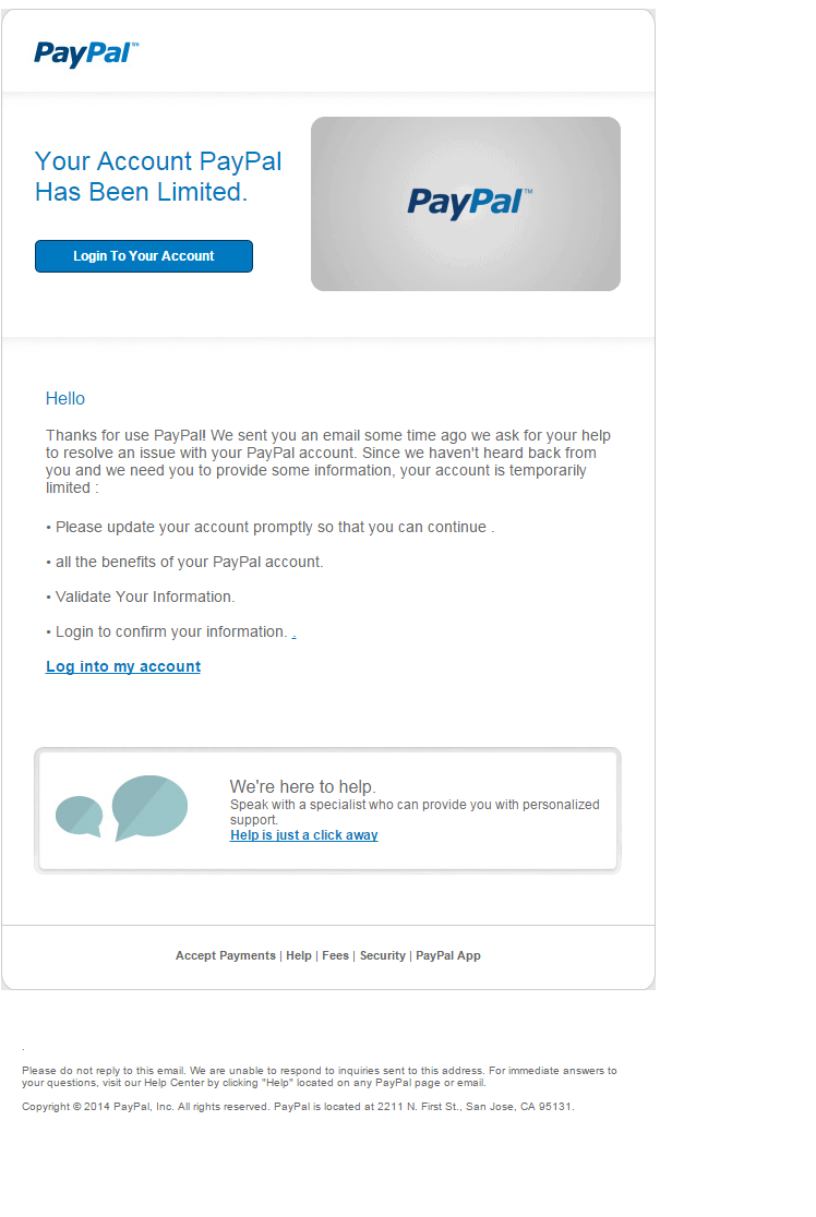 PayPal Account Access Limited phishing email | Security News