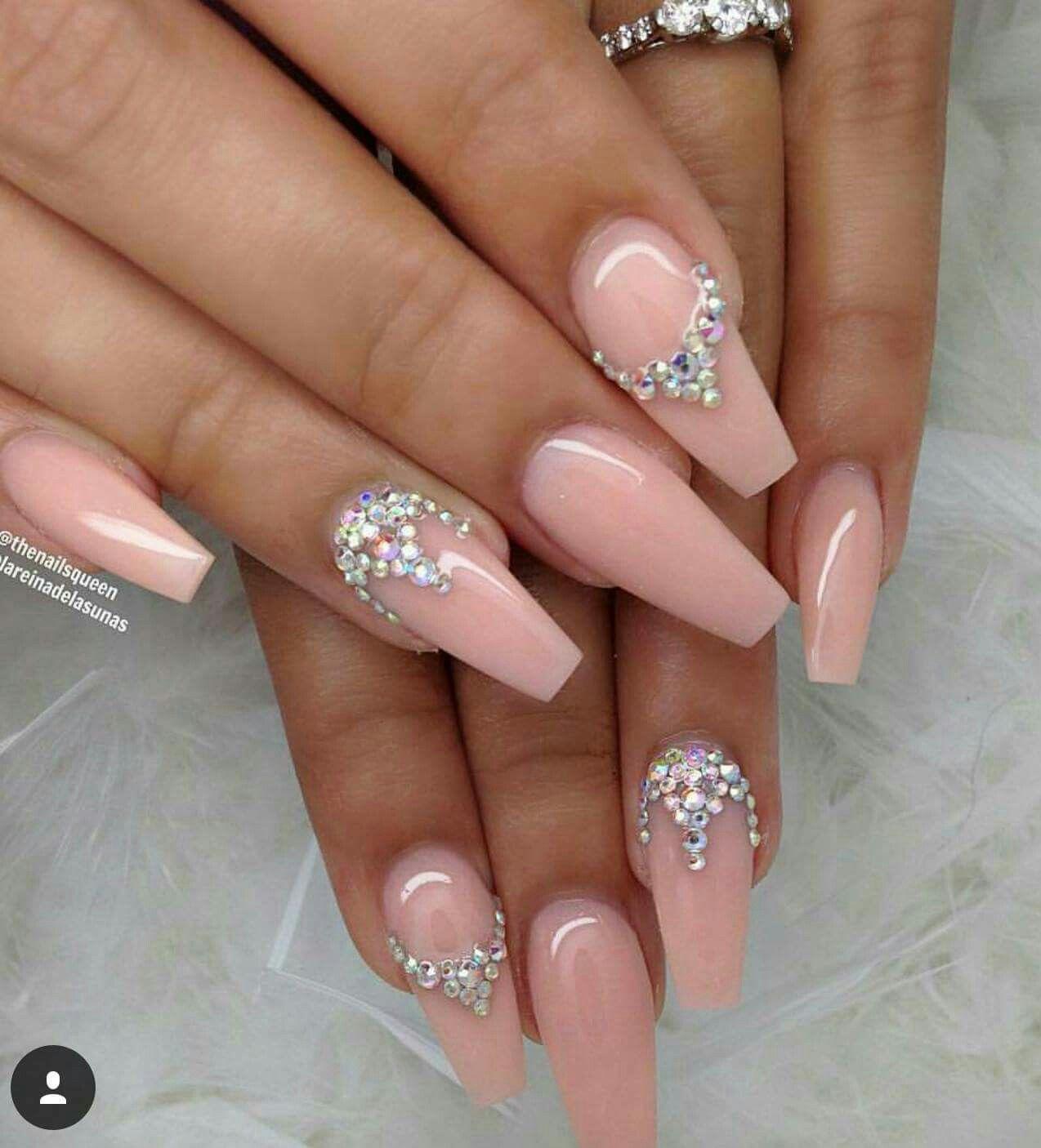 50 Rhinestone Nail Art Ideas   Neutral, Makeup and Nail nail