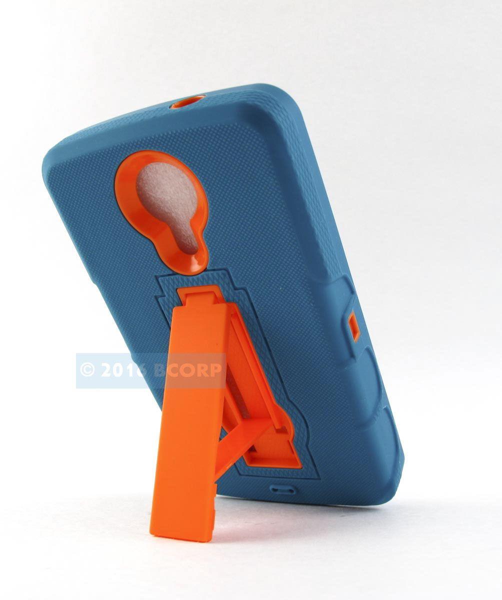 For Zte N817 Uhura Teal Orange Dual Layer Shockproof Case