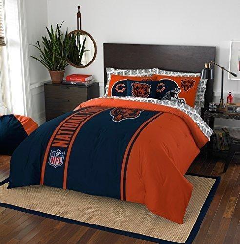 e3507341 7 Piece NFL Bears Comforter with Sheets Full Set, Blue Orange Multi ...