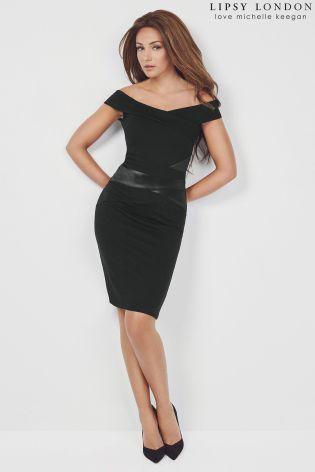 Buy Lipsy Loves Michelle Keegan Bardot Satin Panelled Bodycon Dress from the Next UK online shop