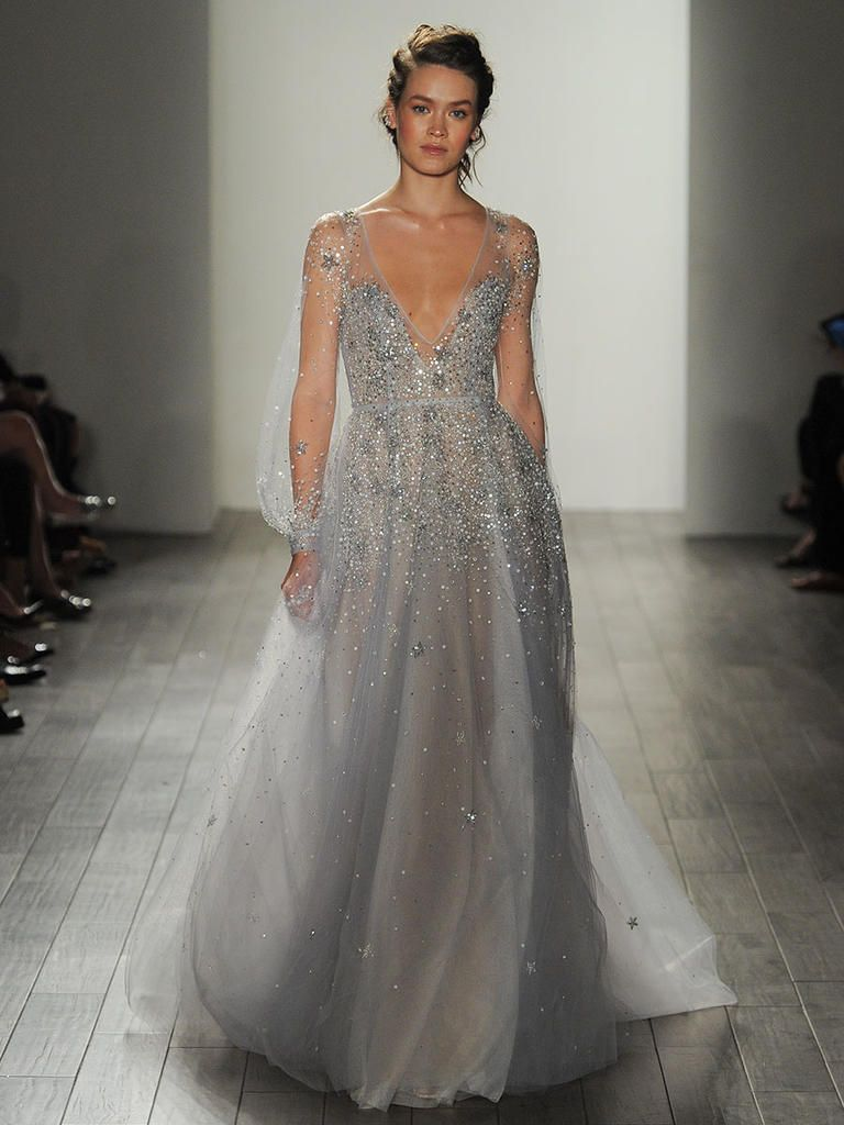 Long sleeve v neck wedding dress  Hayley Paige Fall  powder blue illusion long sleeves deep Vneck