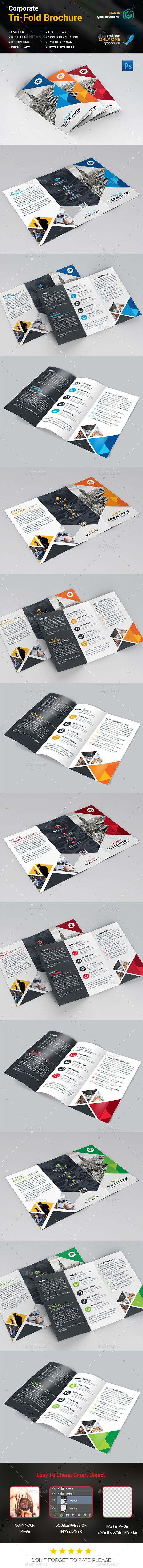 Modern Tri-Fold Brochure Template PSD. Download here: http ...
