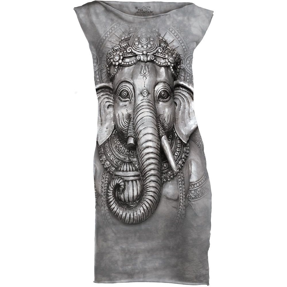 Big Face Ganesh Mini Dress Gray