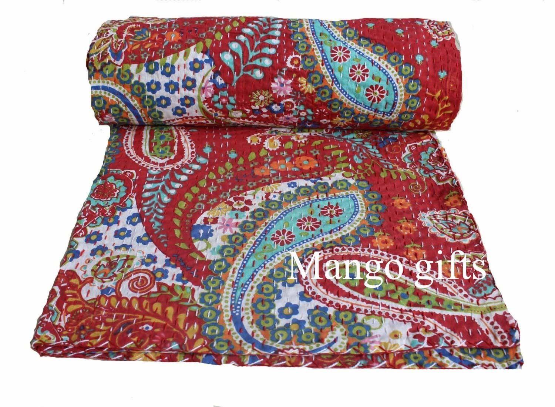 Floral Handmade Kantha`Quilt~Indian Bedspread Throw Cotton Blanket Gudari Twin`