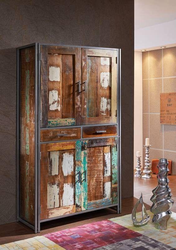 NEW YORK Schrank #13 Indisches Altholz lack / Metall Jetzt - Schrank Für Wohnzimmer