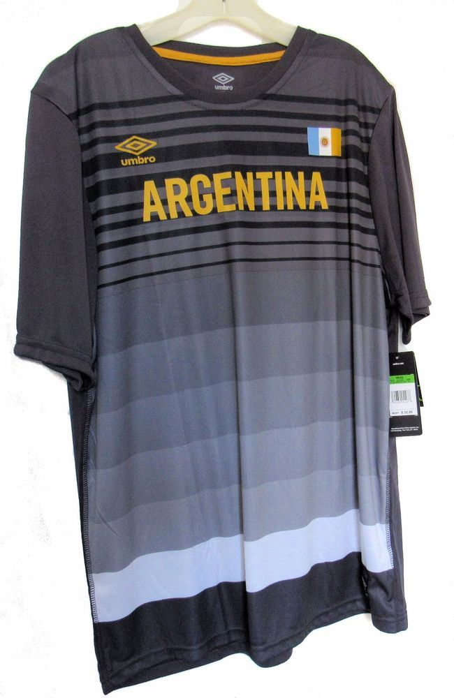 e568a1161 Umbro Argentina Comfort Athletic Grey Black Jersey Shirt Mens XL NWT  Umbro   ShirtsTops