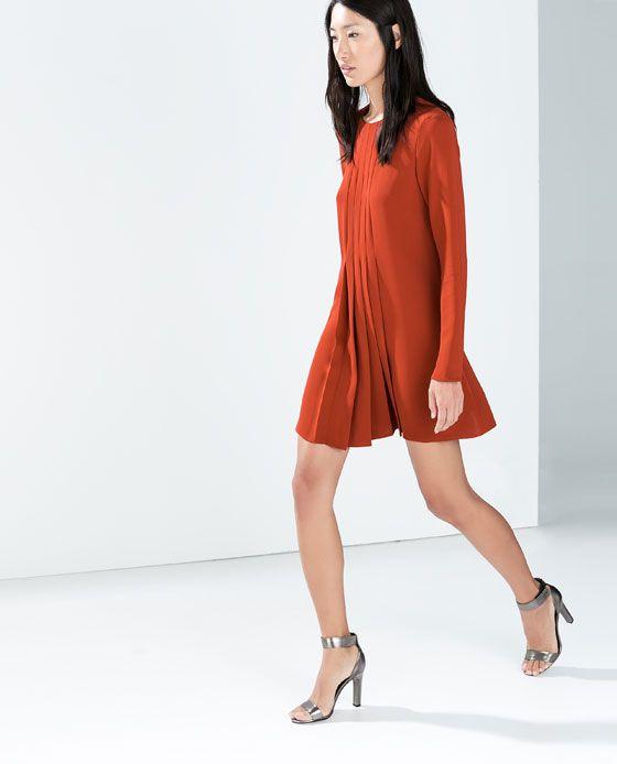 Zara dress with box pleats images