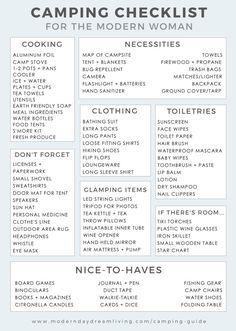 A Modern Camping Guide  Printable Checklist  Camping Camping