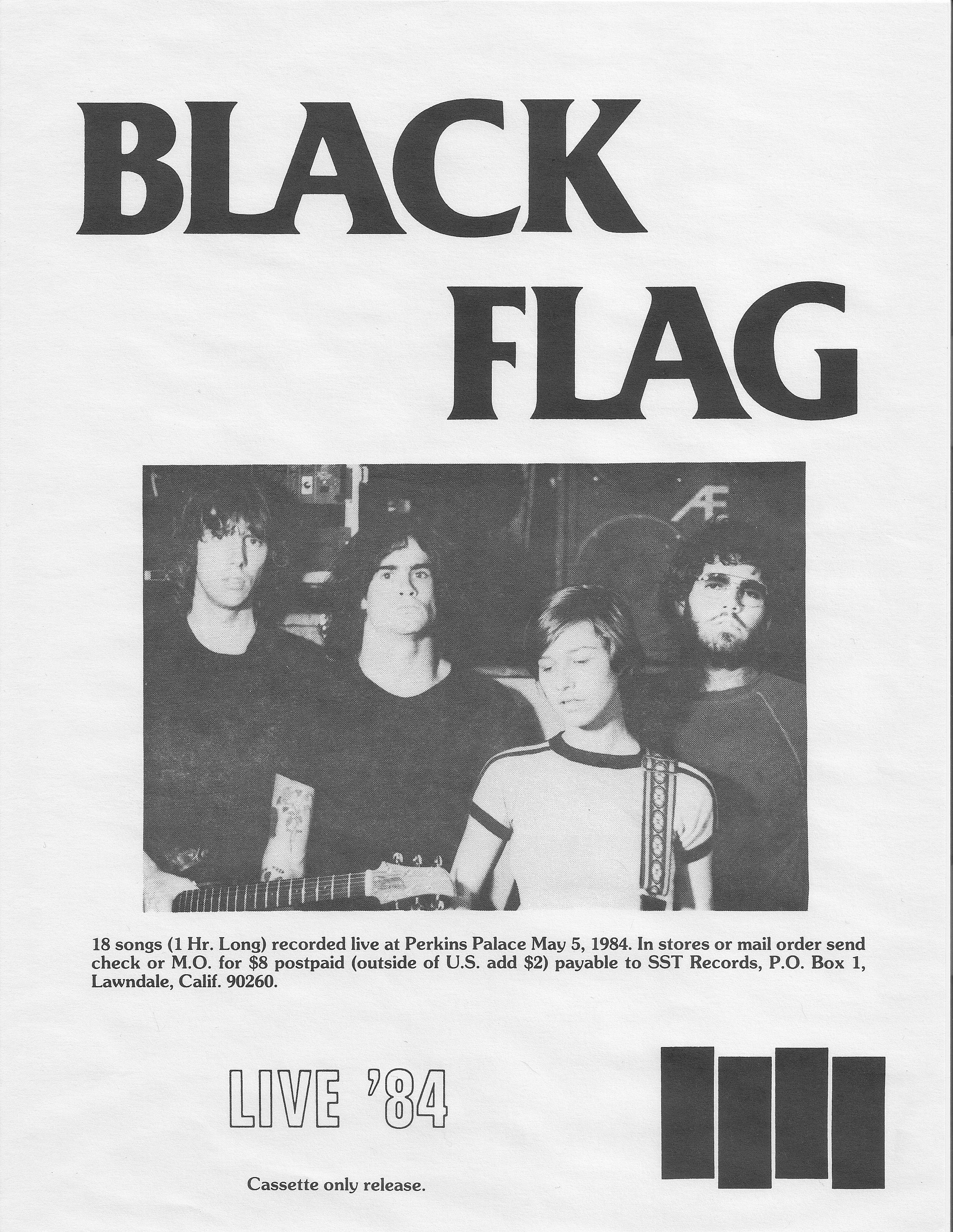 Original Flyer For Black Flag S Live 84 Album Black Flag Music Poster Songs