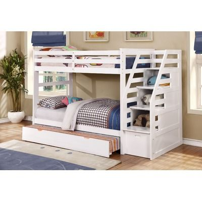 Wildon Home ® Twin Over Twin Standard Bunk Bed with Trundle and Storage Step