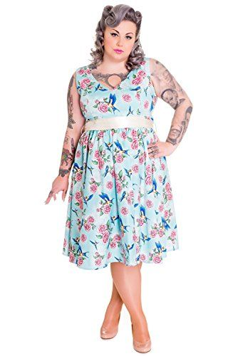 d6235b6d251 Fashion Bug Plus Size 50 s  Retro  Vintage Blue Birds and Pink Roses with  Bow Party Dress www.fashionbug.us  PlusSize  FashionBug