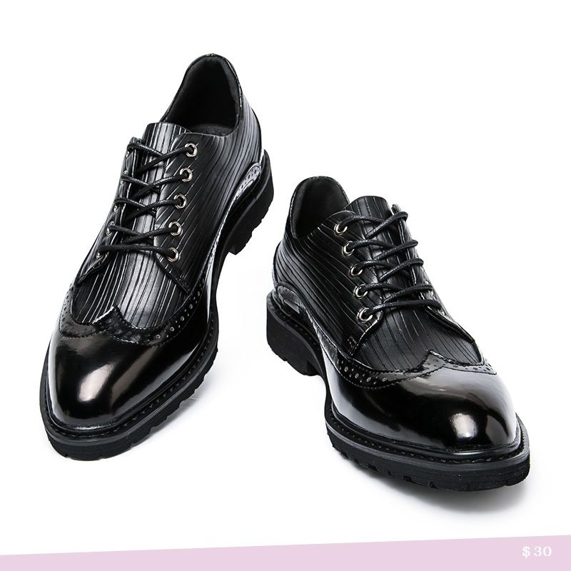 US $30 Men Casual Luxury Brand Flats Genuine Leather Black Formal Dress Wedding Brogues Shoes Zapatos Hombre Wingtip Shoes Burgundy