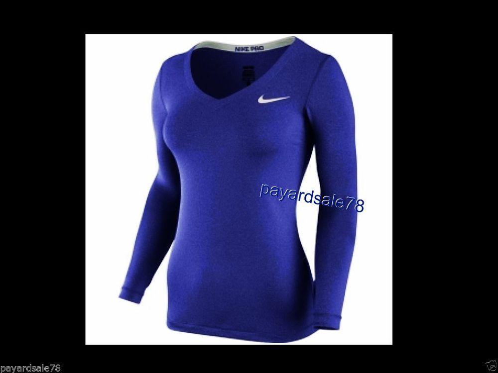 79d02712 WOMEN'S SIZE MEDIUM NIKE PRO CORE FITTED LONG SLEEVE SHIRT V-NECK PURPLE  DRI-FIT #Nike #ShirtsTops