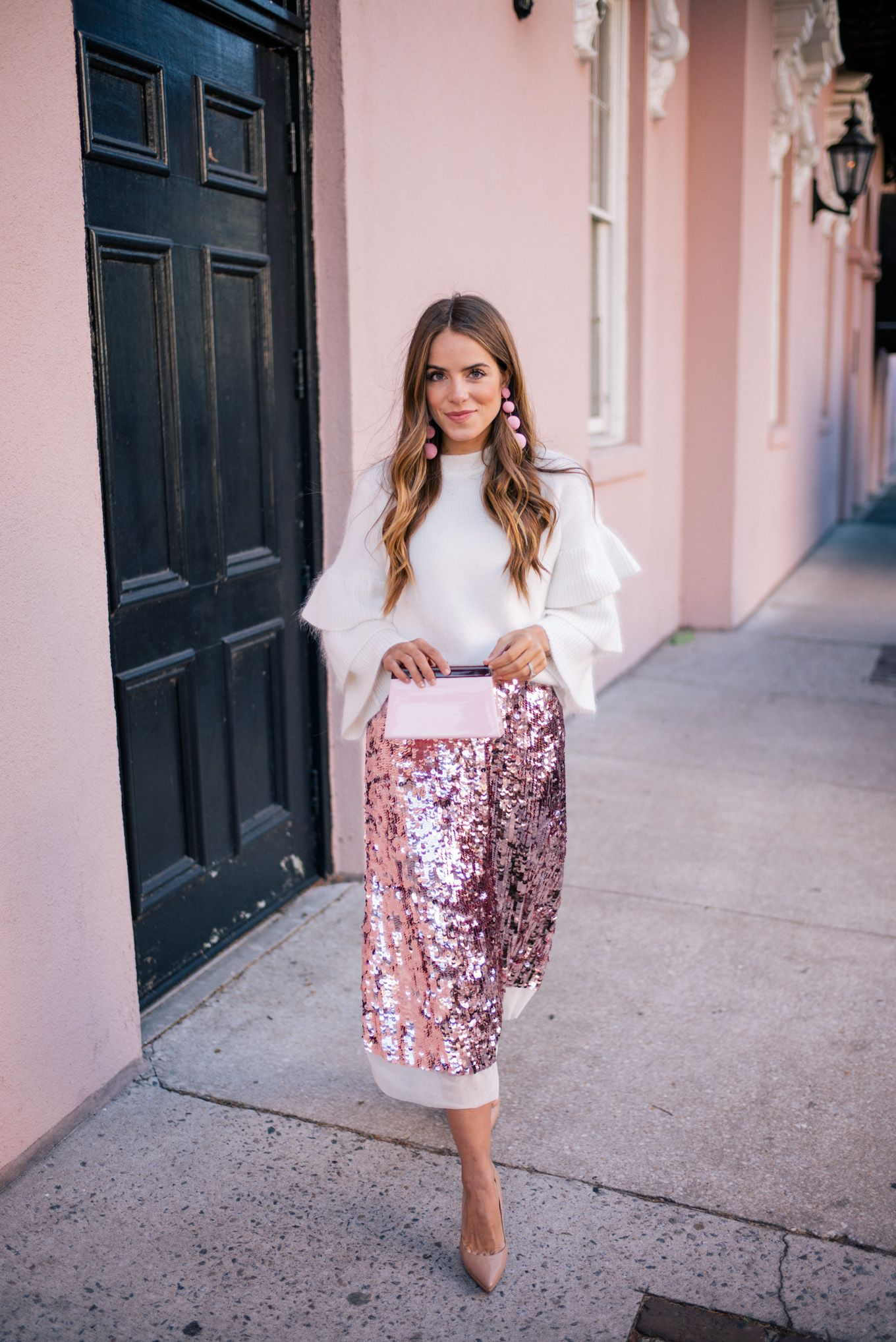 37482427a0 Gal Meets Glam Pink Sequin Skirt -Endless Rose sweater, Tory Burch skirt,  Louboutin pumps, Rebecca de Ravenel earrings & Rocio clutch